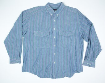 90s Striped Oxford L - Vintage 90s Long Sleeve Shirt Men's Large - Blue Green Purple Striped Shirt L - Hot Gossip Shirt L - Flap Pockets