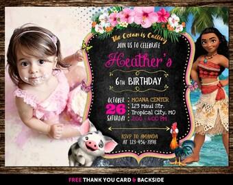 Moana Invitation With Photo, Moana Invitation With Picture, Moana Birthday Invitation With Photo, Moana Invitation Printable Digital Printed