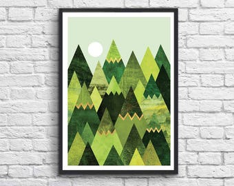 Art-Poster 50 x 70 cm - Forest mountains