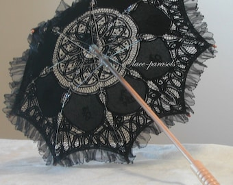 SMALL Black Lace Parasol w/Organza Lace -  Small