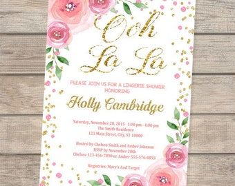 Lingerie Shower Invitation, Flowers And Confetti Lingerie Bridal Shower Invitation, Floral Print, Pink And Gold Confetti Invite