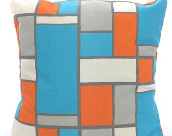 Orange Aqua Gray Decorative Throw Pillow Covers, Cushions, Orange Aqua Grey Cream, Hopscotch, Couch Bed Pillows, One or More ALL SIZES