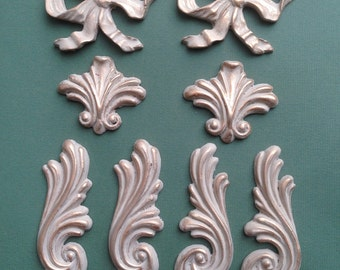 Shabby chic appliques resin mouldings for embellishment painted in Farrow and Ball from Vintique Chic mouldings