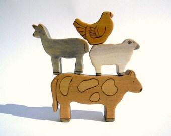 wooden farm animal toys, wooden toys, waldorf toy animals, barnyard animals, waldorf toys