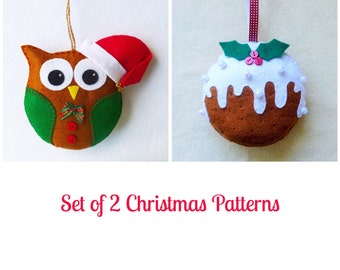 Set of 2 Felt Christmas Ornament pdf Patterns, Santa Owl and Christmas Pudding, , Instant Download, Easy Step-by-Step Instructions