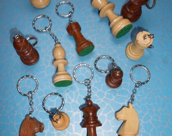 Hand Made Quirky Chess Piece Keyring or Keychain New CHOICE of CHESS PIECES, King, Queen, Rook, Bishop, Knight, Pawn