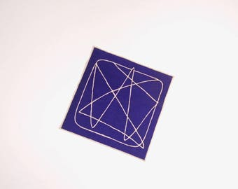 Linen Midcentury Pocket Square - Geometric Blue and Natural Pocket Square
