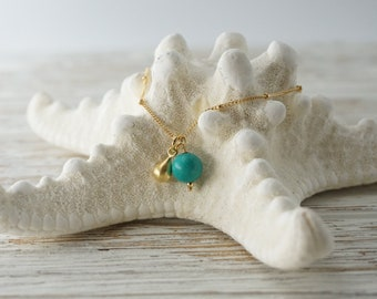 Turquoise and Teardrop Charm Necklace with 14k gold filled satellite chain