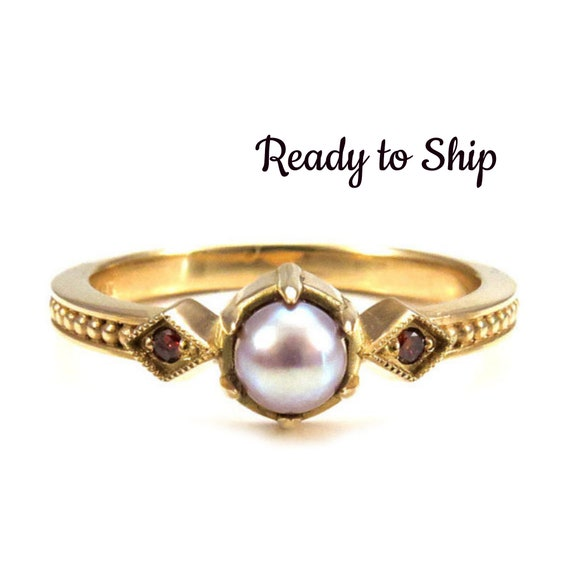 Ready to Ship Size 5 - 7  Pearl Engagement Ring - 18k Yellow Gold with Cognac Diamonds - Gothic Medieval Wedding
