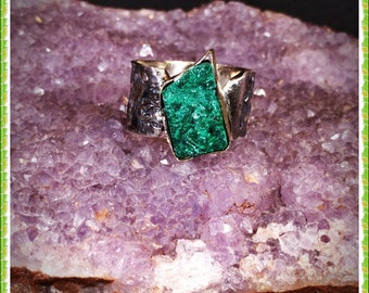 Rough malachite ring,plush malachite ring, silver ring with malachite, rough malachite, rough jewelry, natural malachite, genuine malachite