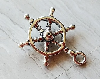 Sterling Silver Ship's Captain Steering Wheel Charm Pendant 1.4 grams 15.6mmx4mm