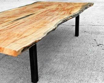 Coffee Table Live Edge Flame Box Elder - The Garcia Collection - Maple Hardwood - Natural Coloring - Handmade - Custom Furniture