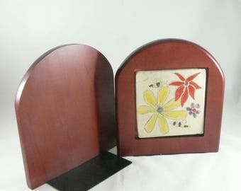 Ceramic Tile Bookends, Save the Bees Library Bookshelf Decor, Office Decor, Book Organizer,  Cookbook Holder, Bumblebee Art, Flowers and Bee