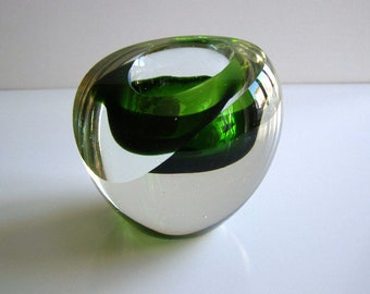 Goran Warff for Kosta Boda Crystal Candle Holder, MCM Modernist Goran Warff Sweden Art Glass Candle Stick Holder 1980's