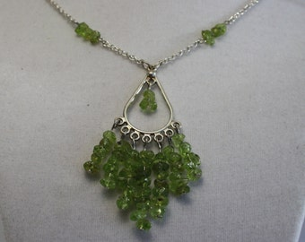 Peridot chandelier necklace