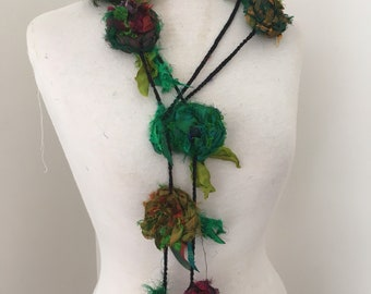 Silk flower necklace, Recycled silk rose garland, hand crocheted, boho floral necklace, rag rose necklace
