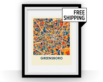 Greensboro Map Print - Full Color Map Poster