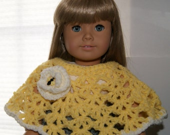 "Lemon Yellow and Cream American Girl Doll Poncho, Clothing for 18"" Dolls"