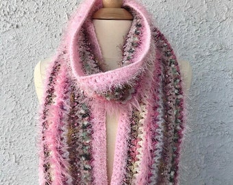 Crocheted Scarf with Fringe Shades of Pink in Mohair Silk Wool and Eyelash Yarn Luxurious Novelty Yarns