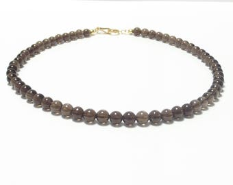 Pure Elegance! Smoke quartz necklace with 925 silver gold plated design closure solid zirconia