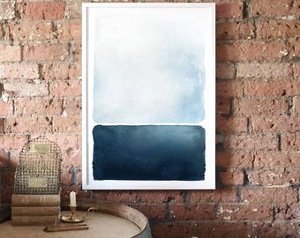 Abstract Blue Seascape A1 Art Print, Blue and Navy Graphic Poster, Rothko Inspired Minimalist Art, Light Modern Abstract Art, Wall Decor