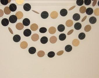 Black and Gold Circles, Birthday, Wedding Gold and Black Circles backdrop, Wedding backdrop garland, gold and black garland, Bridal Shower
