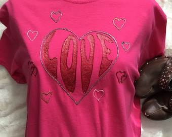 Love Heart Tshirt Hand Painted