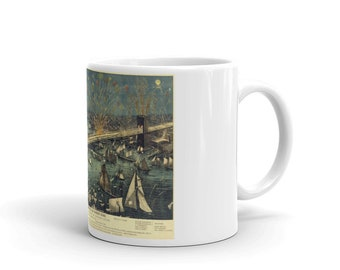 Brooklyn Bridge Opening Night Fireworks 1883 - Mug Made In The USA
