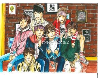 BTS watercolour art A5