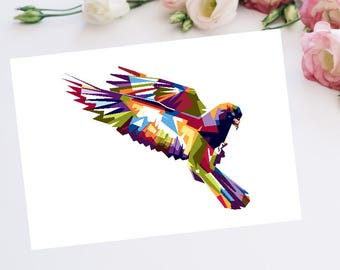 Colourful Pigeon A4 Art Print