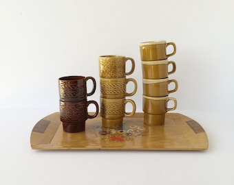 Vintage Stackable Mugs in Earth Tones Set of 8, Stacking 1960s 1970s Mugs, Mix and Match Nesting Mugs Made in Japan