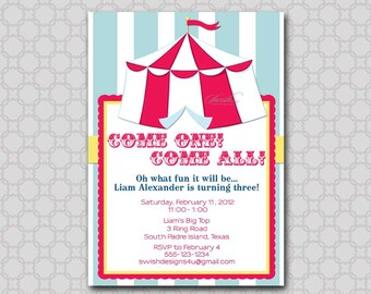 Circus Birthday  Invitation - Carnival Invite - First Birthday Vintage - pastels  Printable Party Invitations -  5x7