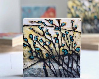 "Spring Buds - Wood Block - Print of Original Painting - 4""x4"""