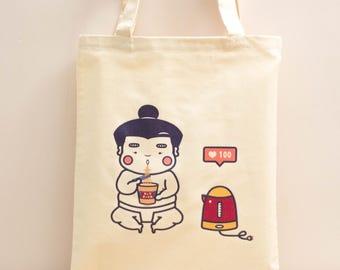 Sumo Ah fat - cup noodles and penguin kettle Tote bag, handbag, market bag, cute tote bag, canvas bag