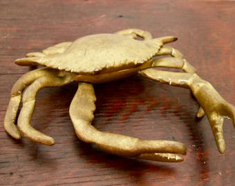 Large Vintage Brass Crab with Hinged Lid