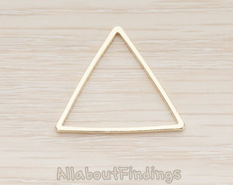 PDT1009-03-G // Glossy Gold Plated 25mm Triangle Link Pendant, 2 Pc