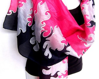 "Hand Painted Silk Scarf, Fire Flames, Red Black Silver Gray , Silk Scarf, 71"" x 18"", Gift For Her"
