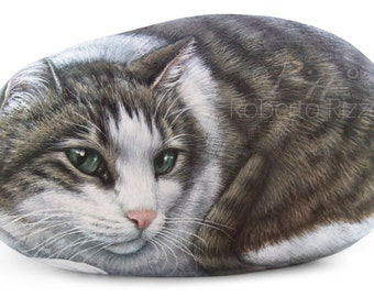 Custom Cat Portrait Hand Painted on a Sea Stone | Pet Portraits on Commission Finely Detailed in Memory of your Pet by Roberto Rizzo
