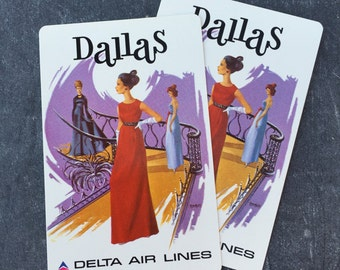 Vintage Dallas Playing Cards Delta Air Lines Set of Two Cards