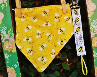 Bee Bandana Bib and Pacifier Clip Set