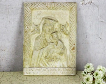 Our Lady Of Perpetual Help Wall Plaque Plaster Virgin Mary Infant Jesus Angels