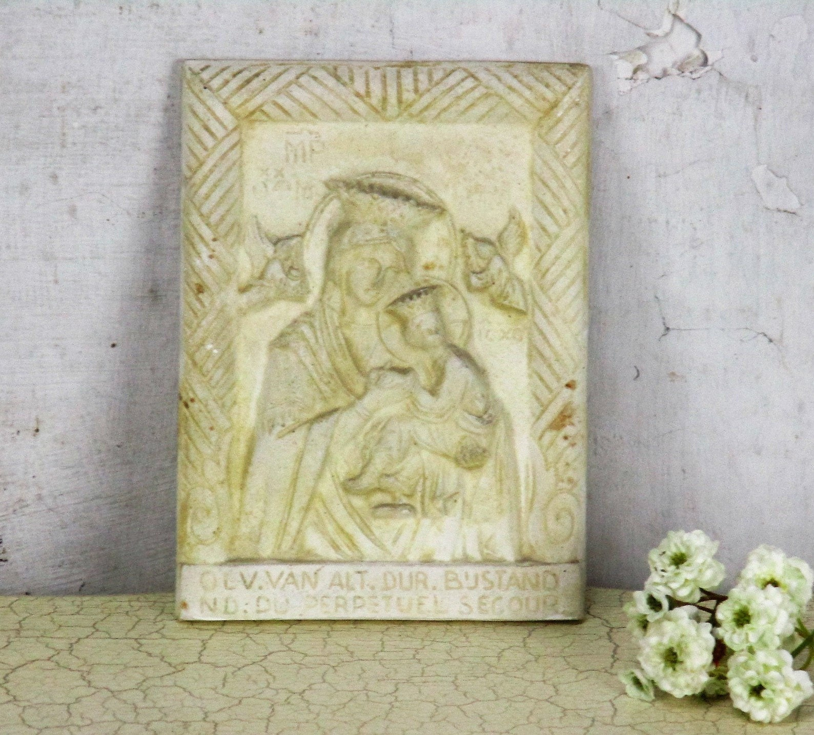 Our Lady Of Perpetual Help Wall Plaque Plaster Virgin Mary