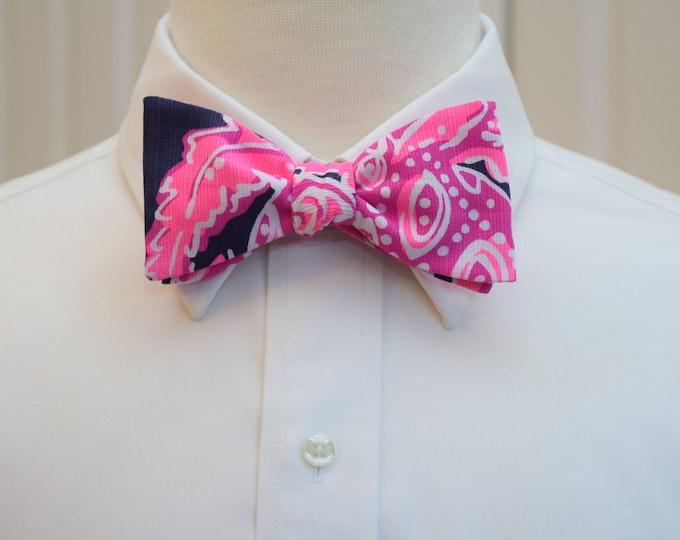Men's Bow Tie, Coco Safari hot pink/navy Lilly print bow tie, groomsmen/groom bow tie, wedding bow tie, neon pink bow tie, prom bow tie,
