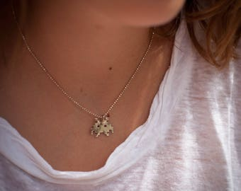 Space invader 925 sterling silver necklace