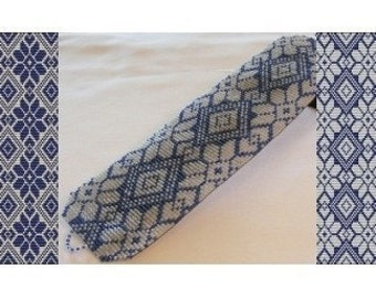 2 Loom Bead Patterns - Blue Knit Cuff Bracelets - 2 Variations For The Price Of 1