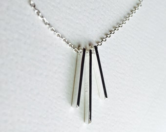 All Sterling Three Bar Necklace, Chevron Dainty Sterling Silver Jewelry