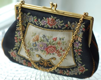 Antique Hand-Embroidered Hand Bag.  Upscale Scandinavian Floral Folklore Design. Traditional and Native Nordic Folk Art.