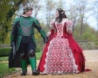 Red Queen Gothic Halloween or Wedding Medieval Fantasy Gown Red/Champagne Custom with Cape!