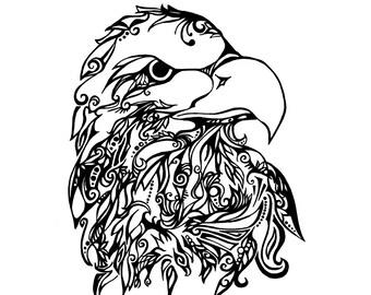 Tribal Bald Eagle Print