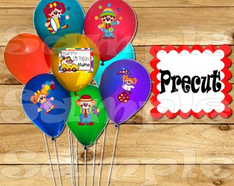 Circus Balloon Stickers Labels Party favors cup stickers goodie bags decorations supplies Circus Birthday clown labels Precut Personalized